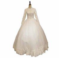 Alto pescoço mangas compridas de mangas compridas vestido de casamento vestido de casamento 2020 laço apliques islâmicos vestidos de noiva longos vestido de noiva robe de mariage