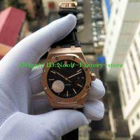 N8 공장 시계 41mm 로즈 골드 케이스 블랙 다이얼 3120 자동 무브먼트 가죽 스트랩 투명 백 망 시계 손목 시계