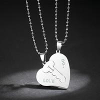 Collares pendientes de llave de corazón de acero inoxidable TE AMO Collares de pareja Moda Plata Chapado en oro Joyas Regalos de San Valentín Hombres Mujeres