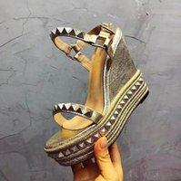 Sandalias de plataforma cubiertos por el brillo de las mujeres inferiores rojas sandalias Cataclou Cork cuña de los diseñadores de la alpargata de tacón alto sandalias del verano de plata
