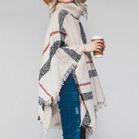 여성 격자 무늬 망토 가을 겨울 목도리 높은 칼라 스웨터 스카프 배트 윙 술 판초 소녀 니트 케이프 착실히 보내다