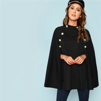 Highstreet Black Office Lady Double Bouton Mock Poncho Solide Élégant Manteau Nouvelle Automne Femmes Vêtements De Travail Survêtement Vêtements