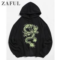 Spalla ZAFUL Felpe Felpe Uomini Drago Graphic coulisse di goccia con cappuccio Uomo Autunno cotone casuale Drago cappotti Maschio