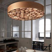 Moderno Colore Wood Art LED lampadario a soffitto Ristorante Hotel Cafe Bar apparecchi di illuminazione Camera da letto Lampade a sospensione Soggiorno Studio MYY