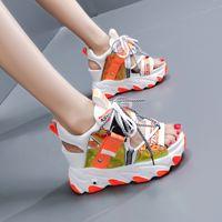 2020 Yaz Chunky Sandalet Kadınlar 9cm Kama Yüksek Topuklar Ayakkabı Kadın Toka Platformu Deri Casual Yaz Terlik Kadın Sandal