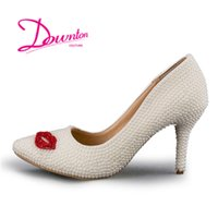 Handmade Wedding Shoes Red Lip Bridal Shoes Pearls ankle str...