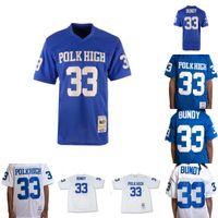 Hommes Al Bundy # 33 Polk haut Football Jersey marié avec des enfants 100% Cousu Femmes Football Maillots Bleu Blanc de haute qualité S-3XL