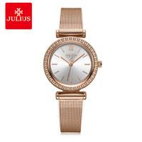 Julius Design Montre Femme simple de Business Watch Rosegold Zircon diamant Ladies Top qualité cadeau Montre Dropshipping JA-1141