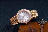 Reloj para hombre Diamantes para mujer Día-Fecha Oro Acero inoxidable Presidente Reloj de pulsera mecánico automático Blanco Reloj para hombre Reloj de lujo Fiesta