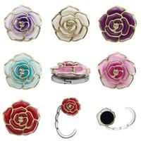 Металлическая вешалка Роза форма Складная сумка кошелек крюк портативный розовый стол крюк для сумки творческий несколько сумка настольная вешалка EEA445