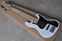 el envío libre de la guitarra baja del jazz, 6 cuerdas bajo eléctrico, cuerpo de tilo, diapasón de arce, cromo hardware, bajo blanco, caja de la batería activa