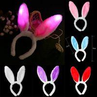 LED мигающий Кролик ухо оголовье Пасха День Рождения украшения Светящиеся милый пушистый кролик ухо одеваются головной убор XD23314