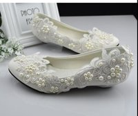 Hot! Lace bridal shoes handmade wedding white flat pearl wed...
