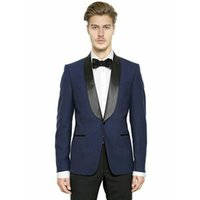 Blue Men Tuxedos Wedding Suits Pants Man Blazer Shawl Lapel ...