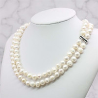 2 filas 8-9m m Akoya blanco collar de perlas de agua salada 17-18inch Cuentas hecho a mano de la joyería que hace de piedra natural Precio al por mayor