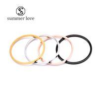 Neue Ankunfts-1mm Edelstahl glänzend Ring 4 Farben Feiner Ordinary MIDI Schlanke Stacking Ringe Paar glückliche Verlobung, Hochzeit Schmuck-Y