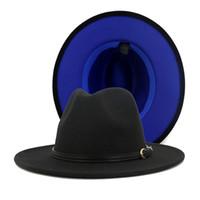 Lana 2020 modo delle donne degli uomini Patchwork artificiale in feltro cappelli di Fedora con Belt Buckle fronte-retro a colori piatto Brim Jazz di Panama Cap