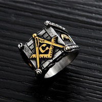 Vintage Black Titanium из нержавеющей стали Мужские кольца Hip Hop Free Mason Punk Ретро Silver Цвет Rock Мужской Ring COOL ювелирные изделия