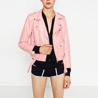 New Fashion Women Solid Motorcycle Faux Leather Jackets Ladi...