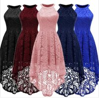 New European and American Women's Dresses for Overseas Trade Summer Medium-long Sleeveless Cocktail Swing Lace Dresses