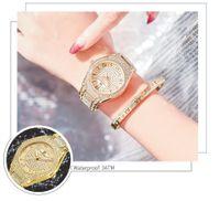 2020 Longbo top luxe strass bracelet diamant Femmes Mode Femmes Robe or rose Montre en acier inoxydable Cristal bracelet