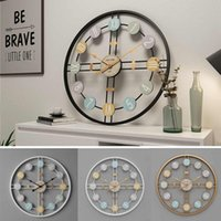 40 cm Reloj de pared redondo silencioso 3D Retro Nórdico Metal Número romano DIY Decoración Reloj de pared para la sala de estar en casa Bar Cafe Decor