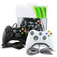 Controller cablato caldo Xbox 360 Joypad Gamepad Black / White Controller con scatola al minuto
