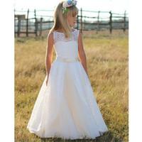 Düğünler Yeni vestidos daminha Çocuklar Yarışması Abiye Giyim ilk komünyonu Elbise İçin Yeni Beyaz Uzun Çiçek Kız Elbise