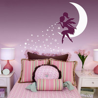 YOYOYU Fairy Moon Wall Stickers for Girls Rooms Pixie Dust S...