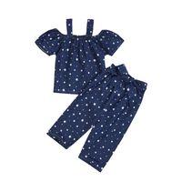 Оптовая девочка дизайнер одежды лета милые девушки слинга плеча тенниска + тяжелое дыхание звезды печати 2pcs Набор малышей дизайнер одежды девочек BY0826