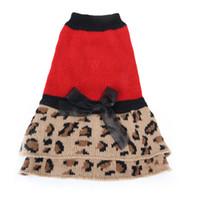 Одежда для собак осень и зима полоса платье вязание лук юбка утолщение согреться щенок одежда 16dg UU