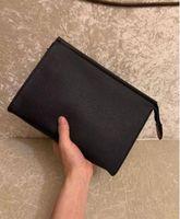 Designer-New Travel Higiene Pessoal Pouch 26 centímetros Proteção Maquiagem Clutch Mulheres de couro impermeáveis sacos de cosméticos para homens com saco de poeira 125