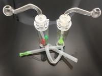 Protable neueste 10mm weibliche Kunststoff-Öl-Rig-Bong billig Mini-Kunststoff-Öl-Brenner-Wasserbong-Handpfeife mit Schlauch- und Glasölschale