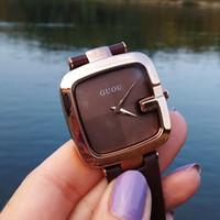 de las mujeres cuadradas manera de los relojes de lujo de las señoras Zegarek Damski relojes de la pulsera de la correa de cuero de las mujeres del reloj SAATI