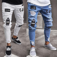 Men' s Fashion Ripped Jeans Super Skinny Slim Fit Zipper...