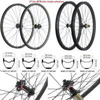 MTB الكربون العجلات 27.5ER 27/30 / 35/40 / 45mm ومع جبل عجلات Novatec محور 791-792 6 بولت محور UD ماتي الكربون عجلات