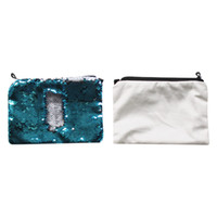 sublimation paillettes blanches sacs cosmétiques transfert à chaud consommables sac de maquillage d'impression Wholesales nouveaux styles 16 * 23cm