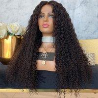Shuowen Kinky Kıvırcık Sentetik Dantel Ön Remy Saç Peruk Simülasyon İnsan Bombre Saç Peruk Derin Dalga De Cheveux Huminları XY-QSL-01