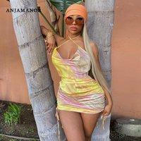 Günlük Elbiseler Anjamanor Seksi Yaz Elbise 2021 Kravat Boya Saten İpli Dantelli Backless Sundress Bodycon Mini Parti Clubwear D70-AB62