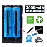 Nytt 2x 18650 Batteri 3000mAh 3.7V BRC Li-Ion Uppladdningsbart batteri för ficklampa + 18650 Dubbel laddare