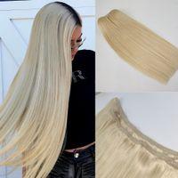 Freies Verschiffen Russische blonde Farbe Halo Haarflips in auf menschlichen Haarverlängerung 1 stücke Set Nicht-Clips 70G-140G