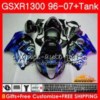 Corps pour SUZUKI Hayabusa GSXR 1300 GSXR1300 96 97 98 99 00 01 07 24HC.96 GSX R1300 1996 1997 1998 1999 2000 2001 2007 flammes bleues Carénage