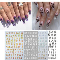 New English Lettera Nail Sticker 4pcs ultra sottile gommata Bianco e nero oro e argento accessori per la nail art unghie Sticker D27 # 30