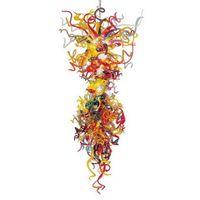Lámpara de cristal de cristal de Murano soplada a mano colorida moderna Lámpara grande colgante de cristal LED Lámparas colgantes