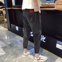 2018 koreanischen Stil Herrenmode Cartoon Stickerei Jeans Stretch Slim Homme Fit Casual Hosen Denim Schwarz / Blau Hosen 29-34