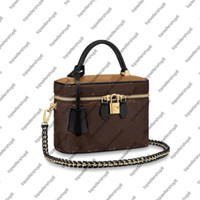 M42265 Nice BB M45165 Vanity PM Bolsa Bolsa de Bolsa Mulheres Couro de Couro de Couro Vanity Case Crossbody Shoulder Bag