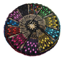 Lentejuelas Dancing Fan Creative Design Peacock Folding Hand Fans Mujeres Stage Performance Prop Multi Color Envío Gratis