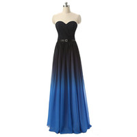 2019 Newest Sexy Sweetheart Chiffon Long Gradient Evening Dr...