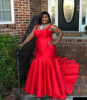 Plus Size African Red Mermaid Prom Evening Dresses Gown Long Party Gala Dress