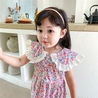 소녀의 드레스 dfxd 여름 여자 드레스 유아 옷 민소매 꽃 인쇄 레이스 칼라 공주 아이 의상 파티 착용 조끼